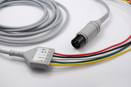 6 Pin DIN Connector to 5 Lead Shielded ECG Cable